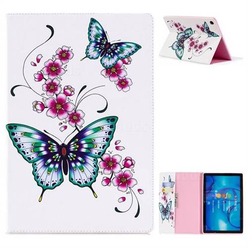 Peach Butterfly Folio Stand Leather Wallet Case for Huawei MediaPad M5 10 / M5 10 inch (Pro)