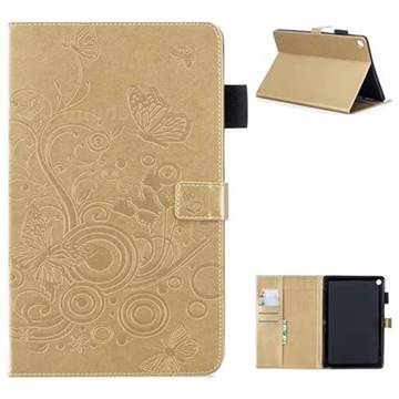 Intricate Embossing Butterfly Circle Leather Wallet Case for Huawei MediaPad M5 10 / M5 10 inch (Pro) - Champagne