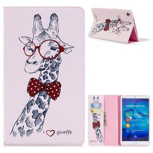 Glasses Giraffe Folio Stand Leather Wallet Case for Huawei MediaPad M5 8 inch