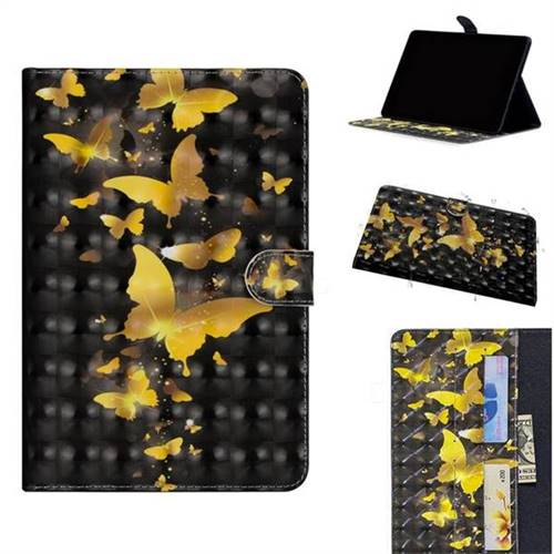 Golden Butterfly 3D Painted Leather Tablet Wallet Case for Huawei MediaPad M5 Lite(10.1 inch)
