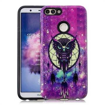 Starry Campanula Owl Pattern 2 in 1 PC + TPU Glossy Embossed Back Cover for Huawei P Smart(Enjoy 7S)