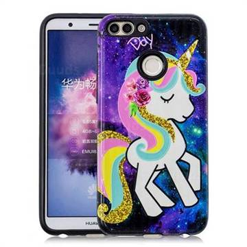 Rainbow Horse Pattern 2 in 1 PC + TPU Glossy Embossed Back Cover for Huawei P Smart(Enjoy 7S)