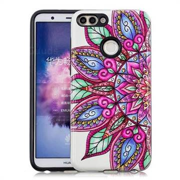 Mandara Flower Pattern 2 in 1 PC + TPU Glossy Embossed Back Cover for Huawei P Smart(Enjoy 7S)