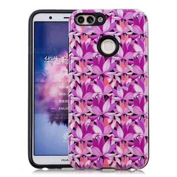 Lotus Flower Pattern 2 in 1 PC + TPU Glossy Embossed Back Cover for Huawei P Smart(Enjoy 7S)