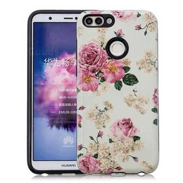 Rose Flower Pattern 2 in 1 PC + TPU Glossy Embossed Back Cover for Huawei P Smart(Enjoy 7S)