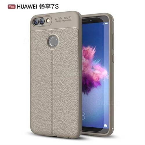 Luxury Auto Focus Litchi Texture Silicone TPU Back Cover for Huawei P Smart(Enjoy 7S) - Gray
