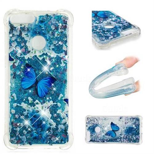 Flower Butterfly Dynamic Liquid Glitter Sand Quicksand Star TPU Case for Huawei P Smart(Enjoy 7S)