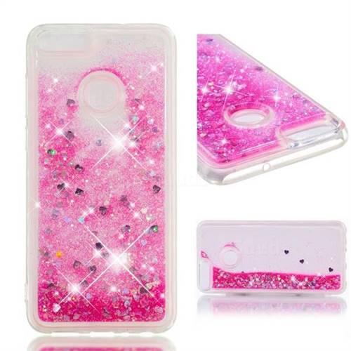 Dynamic Liquid Glitter Quicksand Sequins TPU Phone Case for Huawei P Smart(Enjoy 7S) - Rose