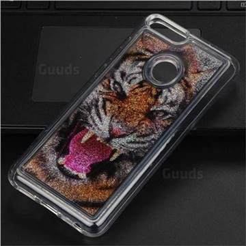 Tiger Glassy Glitter Quicksand Dynamic Liquid Soft Phone Case for Huawei P Smart(Enjoy 7S)