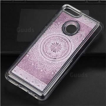 Mandala Glassy Glitter Quicksand Dynamic Liquid Soft Phone Case for Huawei P Smart(Enjoy 7S)