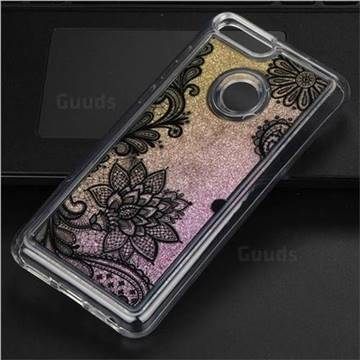 Diagonal Lace Glassy Glitter Quicksand Dynamic Liquid Soft Phone Case for Huawei P Smart(Enjoy 7S)