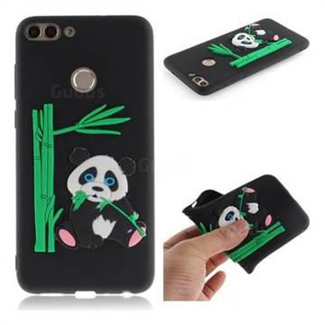 Panda Eating Bamboo Soft 3D Silicone Case for Huawei P Smart(Enjoy 7S) - Black