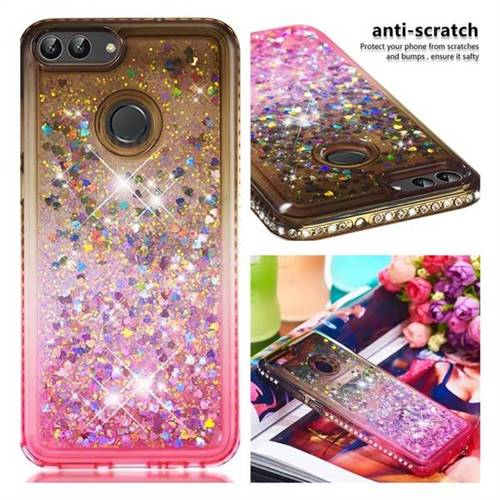 Diamond Frame Liquid Glitter Quicksand Sequins Phone Case for Huawei P Smart(Enjoy 7S) - Gray Pink