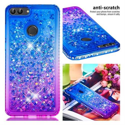 new arrival 09254 912c9 Diamond Frame Liquid Glitter Quicksand Sequins Phone Case for Huawei P  Smart(Enjoy 7S) - Blue Purple