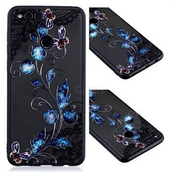 Butterfly Lace Diamond Flower Soft TPU Back Cover for Huawei P Smart(Enjoy 7S)