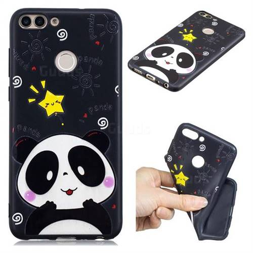 Cute Bear 3D Embossed Relief Black TPU Cell Phone Back Cover for Huawei P Smart(Enjoy 7S)