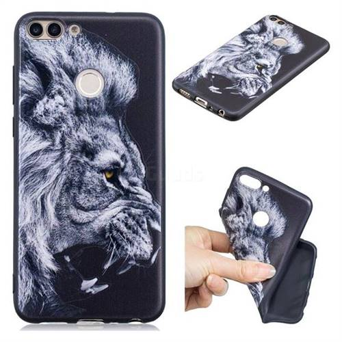 Lion 3D Embossed Relief Black TPU Cell Phone Back Cover for Huawei P Smart(Enjoy 7S)