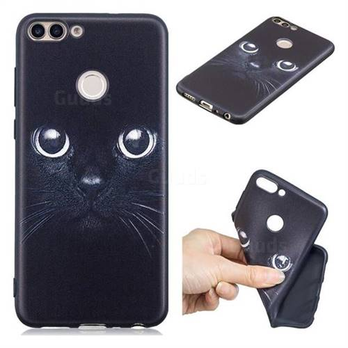 Bearded Feline 3D Embossed Relief Black TPU Cell Phone Back Cover for Huawei P Smart(Enjoy 7S)