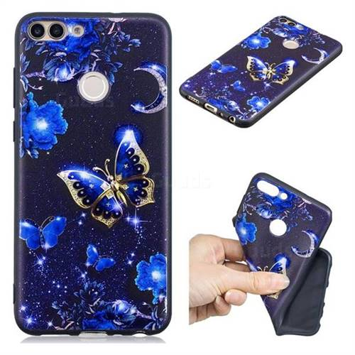Phnom Penh Butterfly 3D Embossed Relief Black TPU Cell Phone Back Cover for Huawei P Smart(Enjoy 7S)