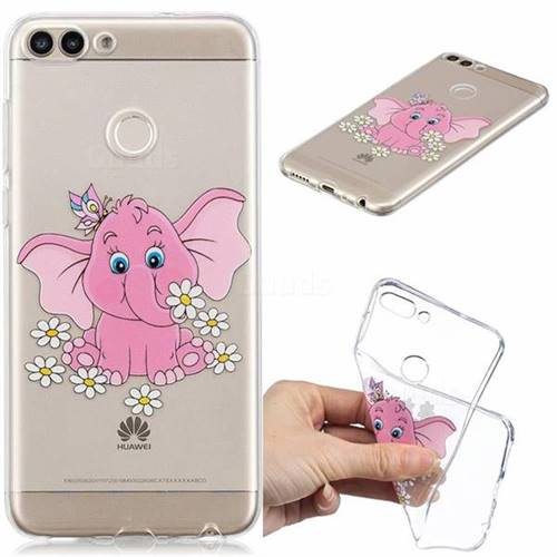Tiny Pink Elephant Clear Varnish Soft Phone Back Cover for Huawei P Smart(Enjoy 7S)