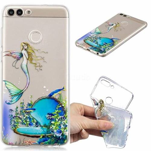 Mermaid Clear Varnish Soft Phone Back Cover for Huawei P Smart(Enjoy 7S)