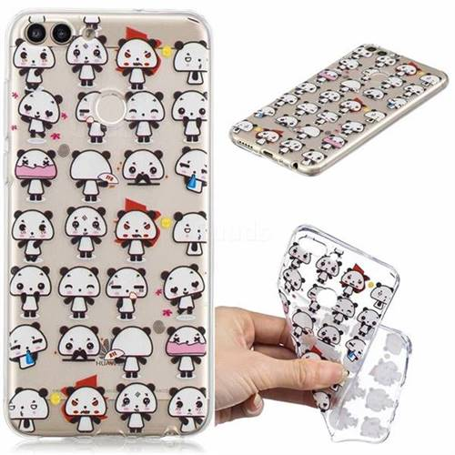 Mini Panda Clear Varnish Soft Phone Back Cover for Huawei P Smart(Enjoy 7S)