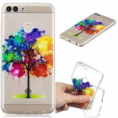 Oil Painting Tree Clear Varnish Soft Phone Back Cover for Huawei P Smart(Enjoy 7S)