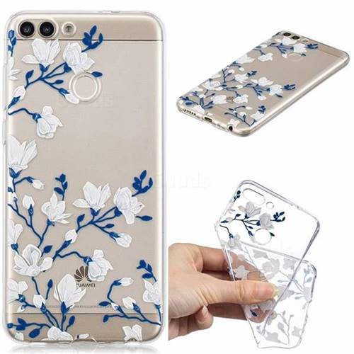 Magnolia Flower Clear Varnish Soft Phone Back Cover for Huawei P Smart(Enjoy 7S)