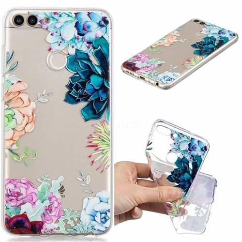 Gem Flower Clear Varnish Soft Phone Back Cover for Huawei P Smart(Enjoy 7S)