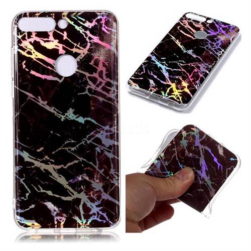 d7fcd734c755 Black Brown Marble Pattern Bright Color Laser Soft TPU Case for Huawei P  Smart(Enjoy