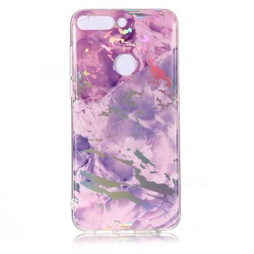 41ca30fd26d2 Purple Marble Pattern Bright Color Laser Soft TPU Case for Huawei P Smart( Enjoy 7S) - TPU Case - Guuds