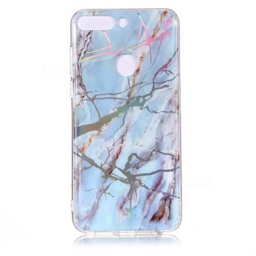 7649f7208010 Light Blue Marble Pattern Bright Color Laser Soft TPU Case for Huawei P  Smart(Enjoy