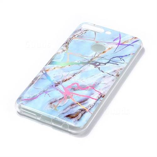 5ab94c50252c Light Blue Marble Pattern Bright Color Laser Soft TPU Case for Huawei P  Smart(Enjoy 7S) - TPU Case - Guuds