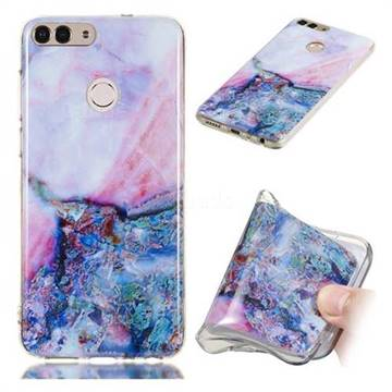 Purple Amber Soft TPU Marble Pattern Phone Case for Huawei P Smart(Enjoy 7S)