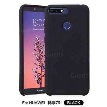 Howmak Slim Liquid Silicone Rubber Shockproof Phone Case Cover for Huawei P Smart(Enjoy 7S) - Black