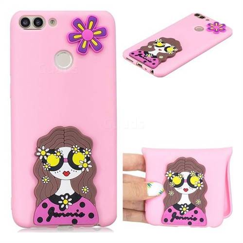 Violet Girl Soft 3D Silicone Case for Huawei P Smart(Enjoy 7S)