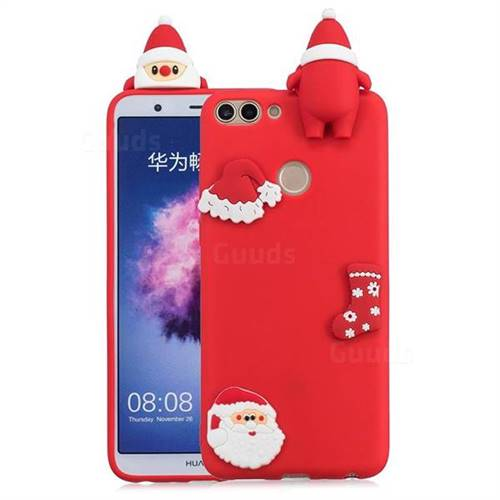 Red Santa Claus Christmas Xmax Soft 3D Silicone Case for Huawei P Smart(Enjoy 7S)