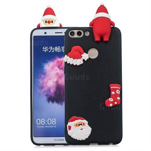 Black Santa Claus Christmas Xmax Soft 3D Silicone Case for Huawei P Smart(Enjoy 7S)