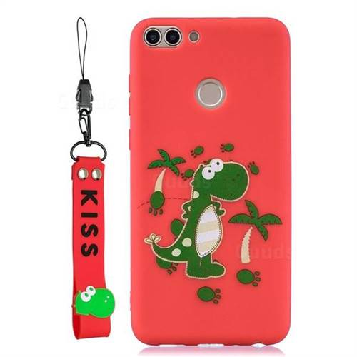 Red Dinosaur Soft Kiss Candy Hand Strap Silicone Case for Huawei P Smart(Enjoy 7S)