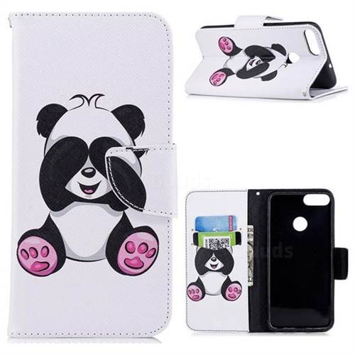 Lovely Panda Leather Wallet Case for Huawei P Smart(Enjoy 7S)