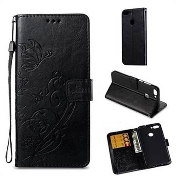 Embossing Butterfly Flower Leather Wallet Case for Huawei P Smart(Enjoy 7S) - Black