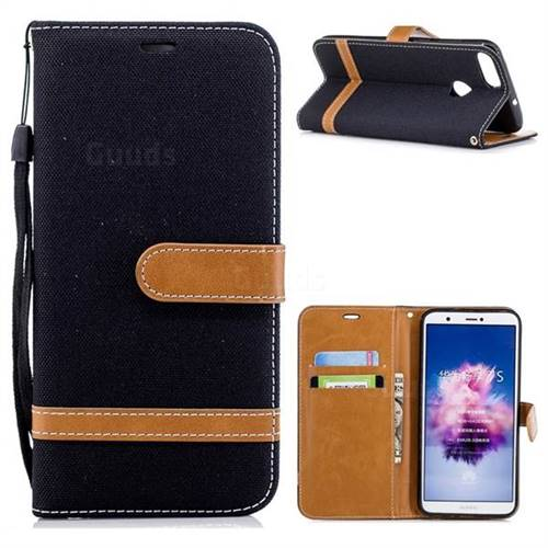 Jeans Cowboy Denim Leather Wallet Case for Huawei P Smart(Enjoy 7S) - Black