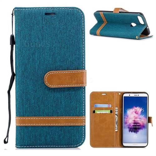 Jeans Cowboy Denim Leather Wallet Case for Huawei P Smart(Enjoy 7S) - Green