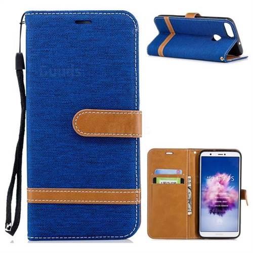 Jeans Cowboy Denim Leather Wallet Case for Huawei P Smart(Enjoy 7S) - Sapphire