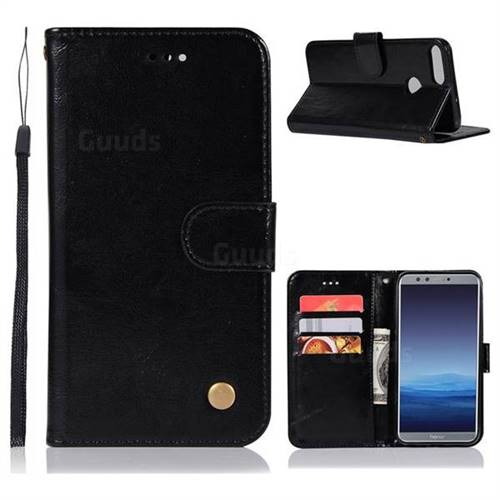 Luxury Retro Leather Wallet Case for Huawei P Smart(Enjoy 7S) - Black