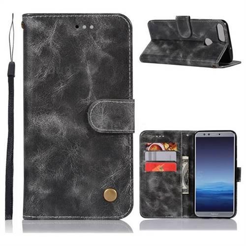 Luxury Retro Leather Wallet Case for Huawei P Smart(Enjoy 7S) - Gray