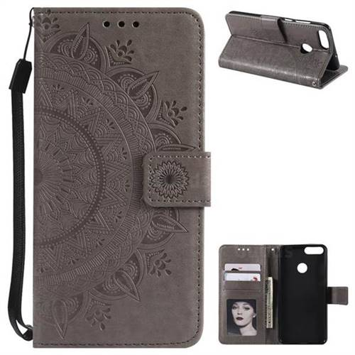 Intricate Embossing Datura Leather Wallet Case for Huawei P Smart(Enjoy 7S) - Gray