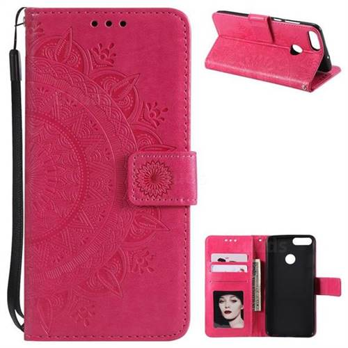 Intricate Embossing Datura Leather Wallet Case for Huawei P Smart(Enjoy 7S) - Rose Red