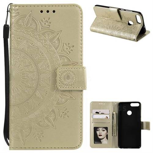Intricate Embossing Datura Leather Wallet Case for Huawei P Smart(Enjoy 7S) - Golden