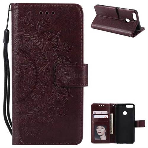 Intricate Embossing Datura Leather Wallet Case for Huawei P Smart(Enjoy 7S) - Brown